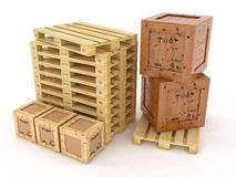 Boxes on wooden palette Royalty Free Stock Photography