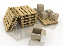 Boxes and wooden pallet Royalty Free Stock Photos