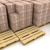 Boxes on wooden pallets Stock Photography