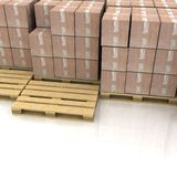 Boxes on wooden pallets Stock Image