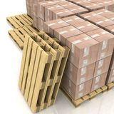 boxes on wooden pallets Stock Photos