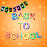 The boxes with the words welcome back to school Stock Photos
