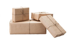 Boxes wrapped with brown kraft paper isolated on white background stock image