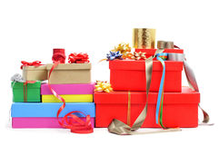 Boxes, wrapping paper and ribbons Royalty Free Stock Image