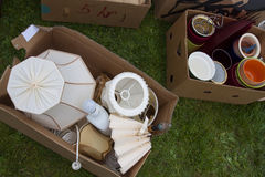 Boxes on yard sale Stock Photography
