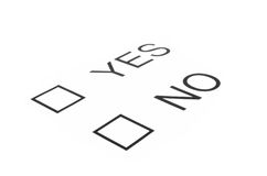 Boxes with Yes and No options isolated Royalty Free Stock Images