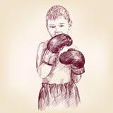 Boxeur de garçon - llustration tiré par la main de vecteur Photo stock