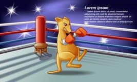Boxeur de kangourou sur l'étape avec le fond de projecteur illustration stock