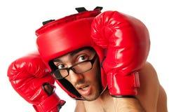 Boxeur drôle d'isolement photo stock