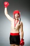 Boxeur drôle avec le gain Photos libres de droits