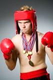 Boxeur drôle avec le gain Images libres de droits