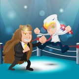 Boxeur Eagle Bear Vector Fight Text de combat de deux mascottes Image libre de droits