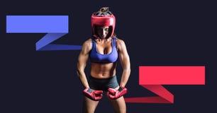 Boxeur féminin avec les panneaux infographic vides de diagramme photographie stock libre de droits