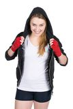 Boxeur féminin de sourire de jeunes images libres de droits