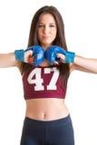 Boxeur féminin prêt à combattre Photo stock