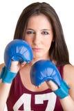 Boxeur féminin prêt à combattre Photographie stock