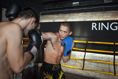 Boxeur faisant la boxe d'entraînement Images stock