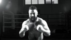 Boxeur mâle Le jeune homme pratique ses mouvements de boxe Poinçons de lancement de boxeur intense d'homme image libre de droits