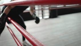 Boxeur passant par des cordes d'arène banque de vidéos