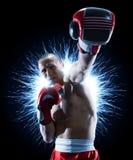 Boxeur professionnel d'isolement dans l'obscurit? noire de fond photo libre de droits
