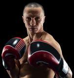 Boxeur professionnel d'isolement dans l'obscurit? noire de fond photographie stock