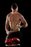 Boxeur se préparant au combat photo stock