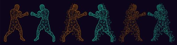 Boxeurs abstraits combattant les uns contre les autres images libres de droits