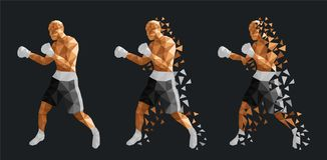 Boxeurs abstraits combattant les uns contre les autres illustration stock