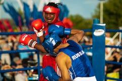 Boxeurs de combat Photos libres de droits