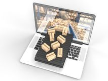 Concept of fast shipping. Boxex on conveyor and  modern laptop 3d rendering image Royalty Free Stock Photo