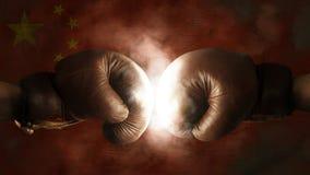 Boxhandschuhe mit der Flagge von China Stockbild