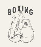 Boxhandschuhvektorillustration Druckdesignt-shirt lizenzfreie abbildung