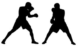 Boxing. Abstract vector illustration of boxing men silhouettes stock illustration