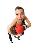 Boxing. Young man and beautiful girl box isolated on white stock photography