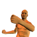 Boxing. 3d render a sportsman in box position than illustration Royalty Free Stock Image