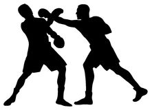 Boxing. Abstract  illustration of boxing men silhouettes Royalty Free Stock Photos