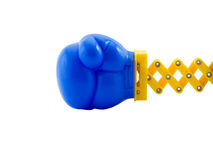 Boxing. Photo of a boxing glove on a retractable arm, isolated on white Stock Image