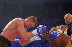 Boxing. Wendell Roche (Holland) vs. Andrei Bokan (Estonia) at Superkombat Final Elimination, october 15, Piatra Neamt Stock Image