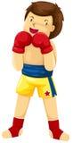 Boxing. Illustration of isolated boy boxing on white background Royalty Free Stock Photo