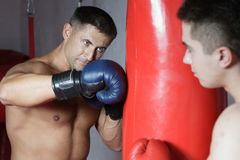 Boxing. The boxer in gloves beats on a punching bag against a dark background Stock Photography