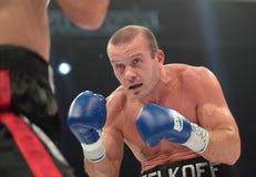 Boxing. ODESSA, UKRAINE - JULY 21: Vyacheslav Uzelkov (right) vs Mohamed Belkacem in fight for WBO Inter-Continental light heavyweight title in Odessa, Ukraine Stock Images