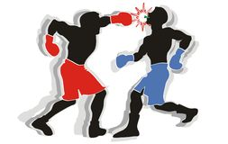 Boxing. Two boxers go toe to toe in the ring Vector Illustration