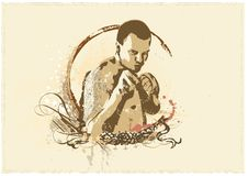 Boxing. Vector insignia .     Young man with fists up  -  Boxing Stock Images