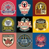 Boxing academy badges and symbols collection. Vector set of 9 different patches for sports wear prints, embroideries, labels Stock Image