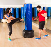 Boxing aerobox couple training at ftness gym Royalty Free Stock Images