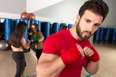 Boxing aerobox man portrait in fitness gym Royalty Free Stock Photos