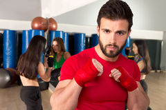 Boxing aerobox man portrait in fitness gym Stock Images