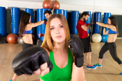 Boxing aerobox woman portrait in fitness gym Stock Image