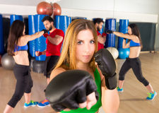 Boxing aerobox woman portrait in fitness gym. Boxing aerobox blond women portrait in fitness gym training workout Royalty Free Stock Photography