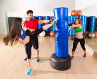 Boxing aerobox women group personal trainer Royalty Free Stock Photography
